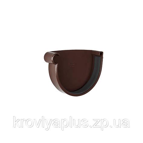 Заглушка желоба водосточного левая Ø130 (Rainway, Украина), коричневая., фото 2