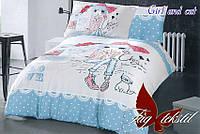 Комплект постельного белья подростковый Девушка и кошка хлопок 100%