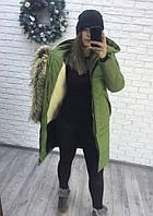 Зимняя длиння женская куртка на овчине
