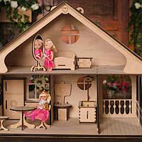 Средний домик для кукол: 2 этажа