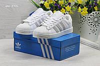 Кроссовки Adidas Superstar белые с серебром