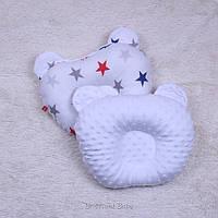 Плюшевая детская ортопедическая подушка Minky (белый)