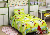 Комплект постельного белья подростковый Микки Маус зеленый хлопок 100%
