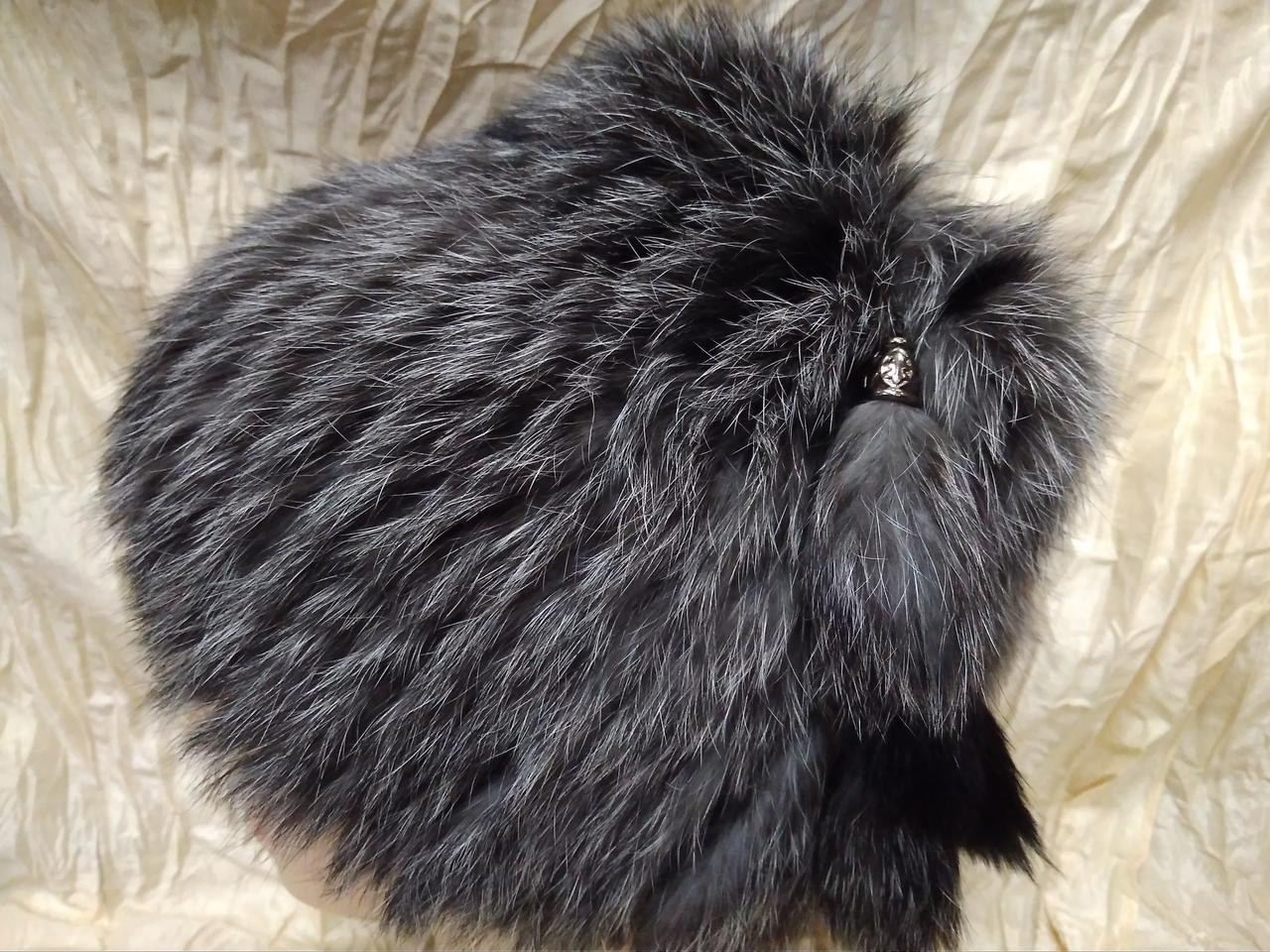 Меховая шапка из меха кролика серый с чёрным