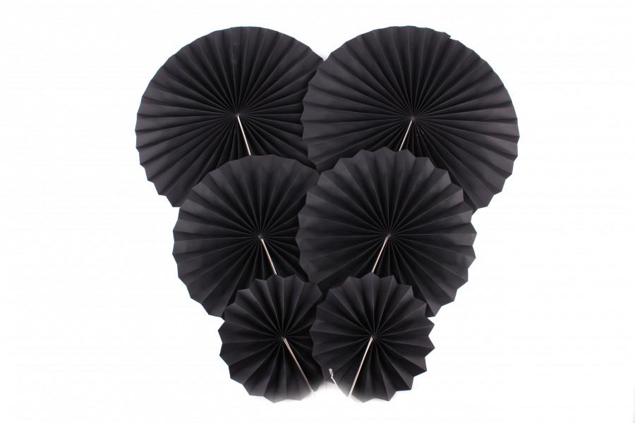 """Набор бумажных вееров для декора """"Черный"""""""