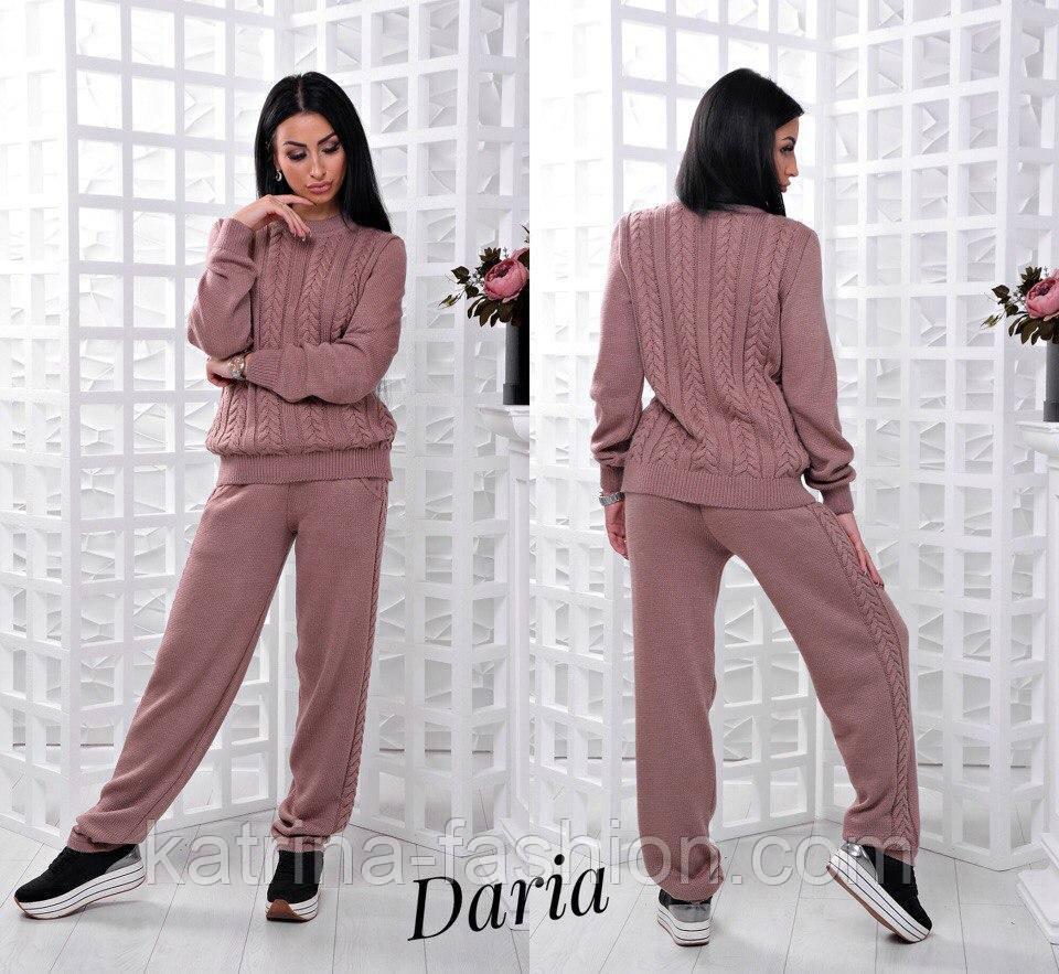 женский теплый вязаный костюм свитер коса и прямые брюки 5 цветов