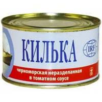 Килька неразделанная в томатном соусе ТМ Интеррыбфлот 0,230г (Кілька нероз. в томат. соусі ТМ Інтеррибфлот)