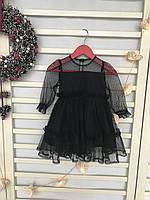 Платье для девочки черное в горох
