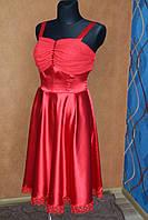 Нарядное платье красное камни, размер 44-46