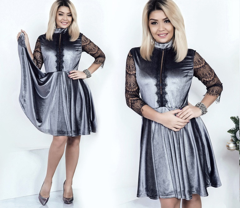 0d043626f6e0f58 Бархатное платье с кружевом, батал - All You Need - прямой поставщик  женской одежды оптом