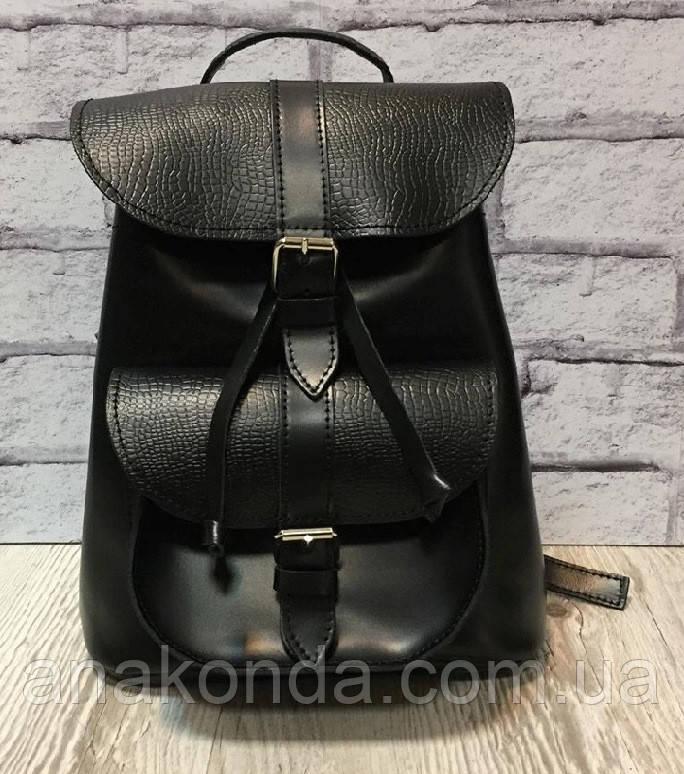 121 Натуральная кожа Городской кожаный женский рюкзак черный сумка-рюкзак из натуральной кожи черная