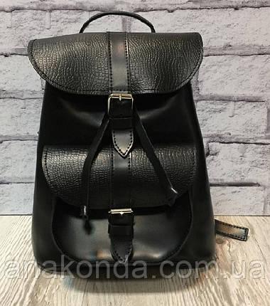 121 Натуральная кожа Городской кожаный женский рюкзак черный сумка-рюкзак из натуральной кожи черная, фото 2