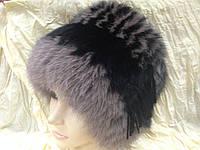 Меховая песцовая шапка двухцветная черная с кофейным