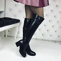Стильные женские черные ботфорты экокожа плюш по всей длине