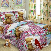 Комплект постельного белья подростковый мишка и зайчик Поплин