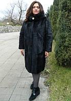 Шуба з стриженої нутрії з капюшоном, довжина 110 см, фото 1