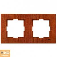Двойная горизонтальная рамка VIKO Novella Красное дерево
