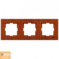 Тройная горизонтальная рамка VIKO Novella Красное дерево