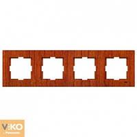 Четверная горизонтальная рамка VIKO Novella Красное дерево