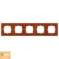 Пятерная горизонтальная рамка VIKO Novella Красное дерево