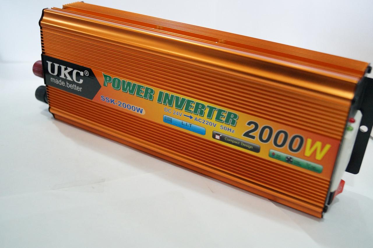 Инвертер напряжения UKC 24/220 2000w , преобразователь 24/220 2000w