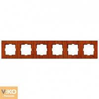 Шестерная горизонтальная рамка VIKO Novella Красное дерево