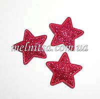 """Тканевый декор, аппликация  """"Звезда"""",с глиттером,  3,5 см, цвет малиновый, 1 шт."""