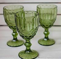 """Бокалы из цветного стекла """" Кубок"""" изумруд зеленый. Цветные бокалы, винтажные бокалы для вина , фото 1"""
