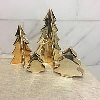 Керамическая елка 4 грани 19 см золотая Ewax