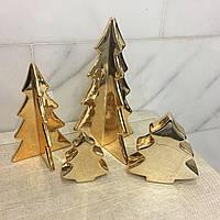 Керамическая елка 4 грани 27 см золотая Ewax