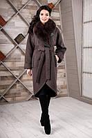 Женское зимнее двубортное пальто  44р коричневый