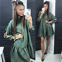 Женское стильное платье свободного кроя с рюшами (4 цвета)