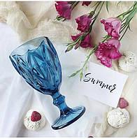 """Бокалы из цветного стекла """"Кубок"""" изумруд синий. Цветные бокалы, винтажные бокалы для вина , фото 1"""