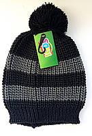 Шапка в полоску с помпоном детская для мальчика 54/56 Черный