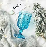 """Бокалы из цветного стекла """" Кубок"""" изумруд голубой. Цветные бокалы, винтажные бокалы для вина"""