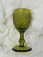 """Бокалы из цветного стекла """" Кубок"""" изумруд зеленый. Цветные бокалы, винтажные бокалы для вина"""