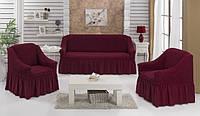 Чехол на диван и 2 кресла с оборкой темно-малиновый