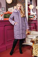 Женское зимнее плащевое пальто 50-64р сирень