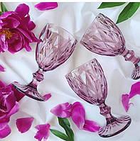"""Бокалы из цветного стекла """" Кубок"""" аметист розовый. Цветные бокалы, винтажные бокалы для вина , фото 1"""