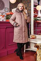 Женское зимнее плащевое пальто 50-64р кофе
