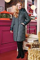 Женское зимнее плащевое пальто 50-64р зеленый