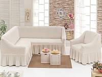 Чехол на угловой диван +1 кресло с оборкой.Цвет белый