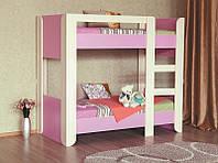 Двухъярусная кровать детская розовая Денди