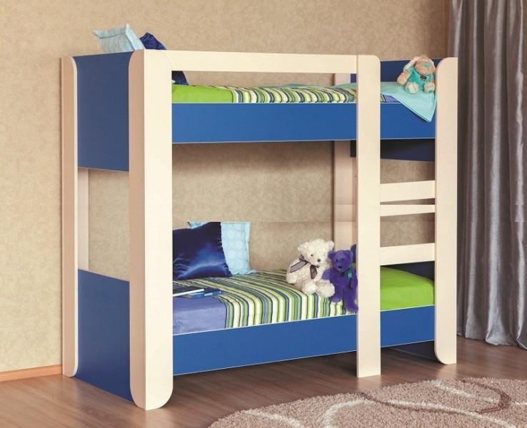 Двухъярусная кровать детская синяя Денди