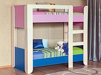 Двухъярусная кровать розово-синяя Денди