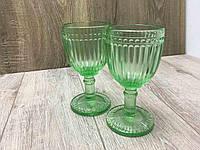 """Бокалы из цветного стекла """" Кубок"""" изумруд салатовый. Цветные бокалы, винтажные бокалы для вина"""