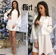 Свободное платье трапеция молоко с белым  кружевом 42-44
