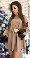 Свободное платье трапеция мокко с черным французским кружевом 42-44