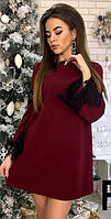Свободное платье трапеция цвета марсала с черным французским кружевом 42-44