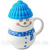 Чашка с силиконовой крышкой Веселый снеговик, голубая, 400 мл.